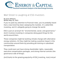 Wall Street Is Laughing at ESG Investors