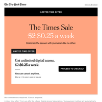 Limited time offer: $0.25 a week for facts.