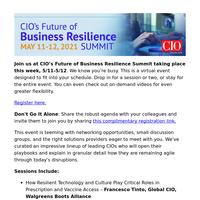 LAST CHANCE: CIO's Future of Business Resilience Summit Kicks off Tomorrow