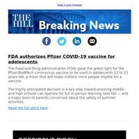 Breaking News: FDA authorizes Pfizer COVID-19 vaccine for adolescents