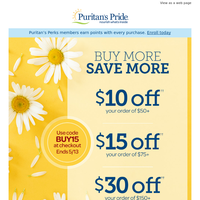 Save an extra $30 off vitamins and supplements