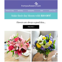Late? Mom doesn't mind! $10 Off Last Chance Mother's Day Blooms
