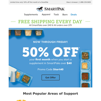 {NAME}, Enjoy 50% Off Supplements
