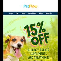 15% OFF Allergy Treats, Supplements & Treatments!