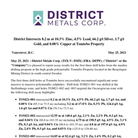 District Intersects 8.2 m at 10.3% Zinc, 4.5% Lead, 66.2 g/t Silver, 1.7 g/t Gold, and 0.08% Copper at Tomtebo Property