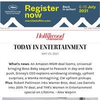 Amazon-MGM Deal Looms; Universal Goes Day-And-Date With 'Boss Baby' Sequel; Upfront Surprises; 'Wonka' Origin Story