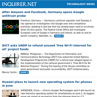 Technology News: After Amazon and Facebook, Germany opens Google antitrust probe; DICT asks UNDP to refund unused 'free Wi-Fi internet for all' project funds; Huawei plans to launch new operating system for phones in June
