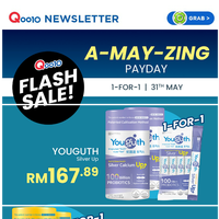 Do not miss this 1 Day Flash Sale to get 1-for-1 offer on your health supplements during our Pay Day Week!