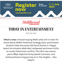 Analyzing Amazon's MGM Deal; Hollywood Sentiment Shifts on Israeli-Palestinian Conflict; Anthony Ramos THR Cover