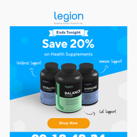 LAST CHANCE to save 20% on our health supplements