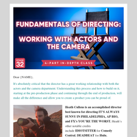Intensive Directing Class Just Announced - Working with Actors and Your DP
