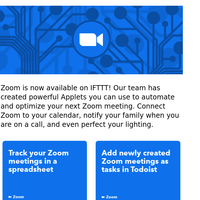 Work from (smart)home 🗣 Zoom is now on IFTTT
