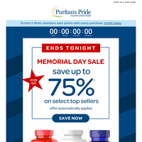 Last call for Memorial Day deals. Up to 75% OFF