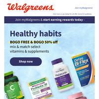 Your body wants this deal: BOGO FREE & BOGO 50% off vitamins & supplements.
