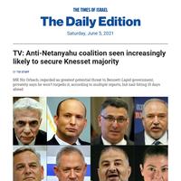 TV: Bennett coalition seen likely to win Knesset OK * Yesh Atid MK: J'lem march a bid to thwart gov't * Bashevis Singer prayer, on rent slip * N Zealand's resettled Nazis