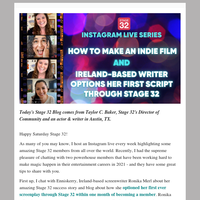 How to Make an Indie Film & Ireland-Based Writer Options Her First Script through Stage 32