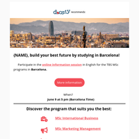 {NAME}, live and study in Barcelona