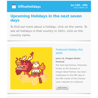 📅 Upcoming Public holidays around the world: Jun 14 - 20