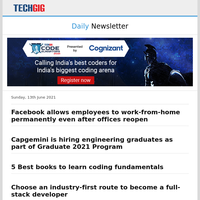 Facebook allows employees to work-from-home permanently even after offices reopen | Capgemini is hiring engineering graduates as part of Graduate 2021 Program