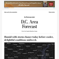 Today's forecast: Humid with storm chance today before cooler, delightful conditions midweek