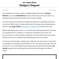 Dodgers Dugout: Spider Tack, Spider Tack, does whatever a....