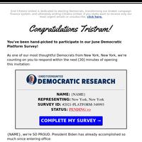 [06/15/21] {NAME}'s Democratic Survey