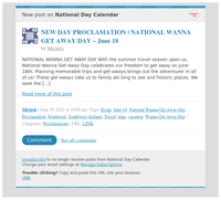 [New post] NEW DAY PROCLAMATION   NATIONAL WANNA GET AWAY DAY – June 18