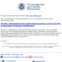 ICE HSI, international law enforcement partners arrest over 85 in Operation Protected Childhood 8
