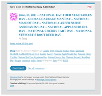 [New post] June, 17, 2021 – NATIONAL EAT YOUR VEGETABLES DAY – GLOBAL GARBAGE MAN DAY – NATIONAL MASCOT DAY – NATIONAL CAREER NURSE ASSISTANTS' DAY – NATIONAL APPLE STRUDEL DAY – NATIONAL CHERRY TART DAY – NATIONAL STEWART'S ROOT BE