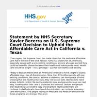 Statement by HHS Secretary Xavier Becerra on U.S. Supreme Court Decision to Uphold the Affordable Care Act in California v. Texas