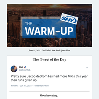 The Warm-Up: No IL for deGrom — Yanks win again — Nets heading to Game 7