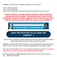 Urgent Request  for {NAME}: Sign to Co-Sign Stacey Abrams' Lawsuit Against Brian Kemp >>