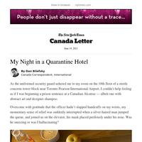 Canada Letter: My Night in a Quarantine Hotel