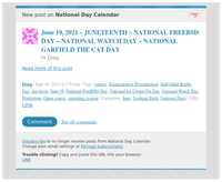 [New post] June 19, 2021 – JUNETEENTH – NATIONAL FREEBSD DAY – NATIONAL WATCH DAY – NATIONAL GARFIELD THE CAT DAY