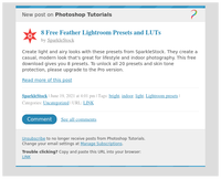 [New post] 8 Free Feather Lightroom Presets and LUTs