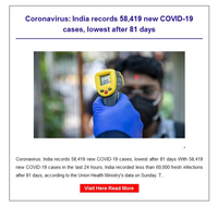 Hi {NAME}, Coronavirus: India records 58,419 new COVID-19 cases, lowest after 81 days