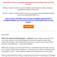 Add your name: Protect millions from lead in their drinking water