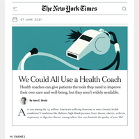 The New York Times says we could all use a health coach!