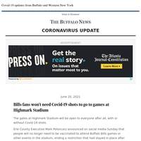 Covid-19: Bills fans won't need vaccinations to go to games at Highmark Stadium