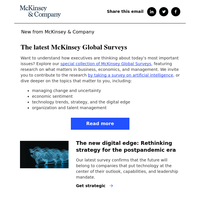 The latest McKinsey Global Survey research: The digital edge in strategy, skilling building, and more