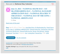 [New post] June 21, 2021 – NATIONAL SELFIE DAY – GO SKATEBOARDING DAY – NATIONAL DAYLIGHT APPRECIATION DAY – NATIONAL PEACHES 'N' CREAM DAY – NATIONAL DAY OF THE GONG – NATIONAL ARIZONA DAY
