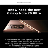 Test & Keep the new Galaxy Note 20 Ultra
