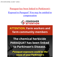 Chemical herbicide Paraquat has been linked to Parkinson's Disease