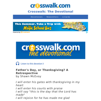 Father's Day, or Thanksgiving? - Crosswalk the Devotional - June 21