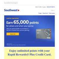Earn 65,000 points that count towards Companion Pass.