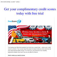 Get your complimentary credit scores today with free trial