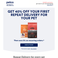 Want 40% off your pet's favorites?