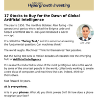 17 Stocks to Buy for the Dawn of Global Artificial Intelligence