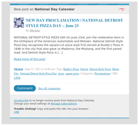 [New post] NEW DAY PROCLAMATION   NATIONAL DETROIT STYLE PIZZA DAY – June 23