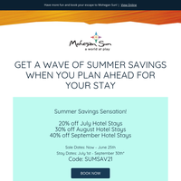 Get A Wave Of Summer Savings When You Plan Ahead For Your Hotel Stay